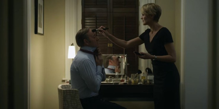 Dutifully powdered her husband's face. Just because.
